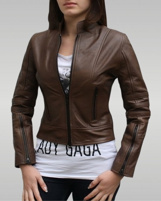 Dark Angel - Women's Leather Jacket (Brown)