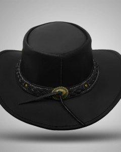 Aussie - Men's Leather Cowboy Bush Hat (Black)