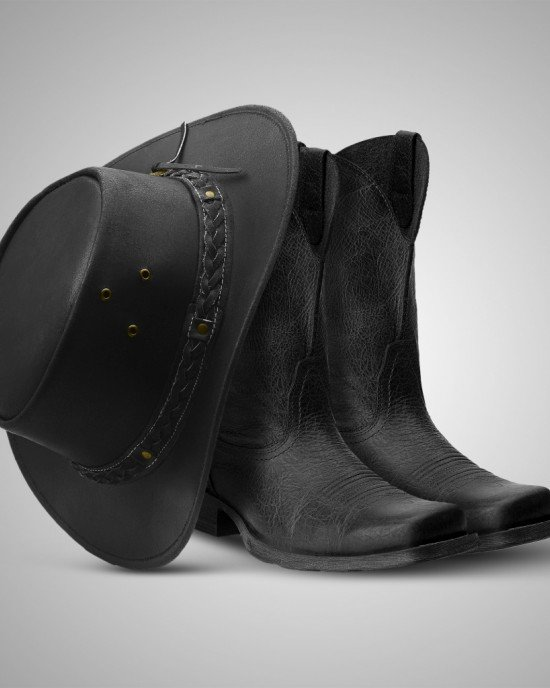 Aussie - Men's Leather Cowboy Bush Hat (Black)