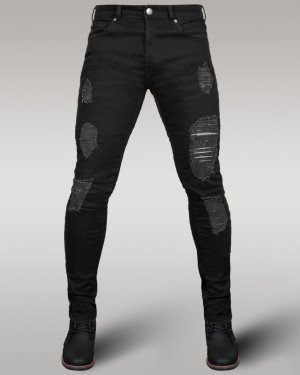 Immense - Men's Super Skinny Ripped Jeans (Black)
