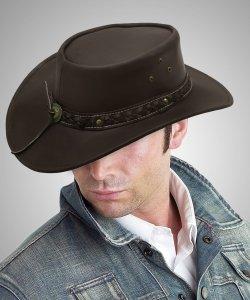 Aussie - Men's Leather Cowboy Bush Hat (Brown)