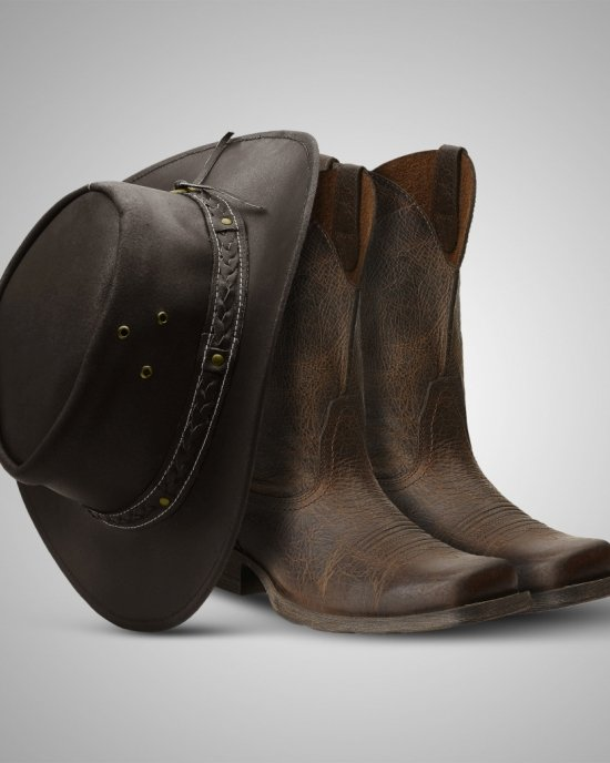 Aussie - Men's Leather Cowboy Bush Hat (Brown)