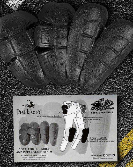 Motorbike Jeans Hip and Knee Protectors