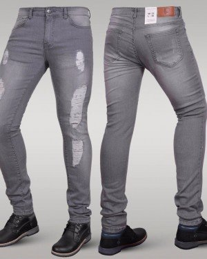 Immense - Men's Super Skinny Ripped Jeans (Grey)