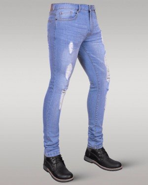 Immense - Men's Super Skinny Ripped Jeans (Iced Blue)